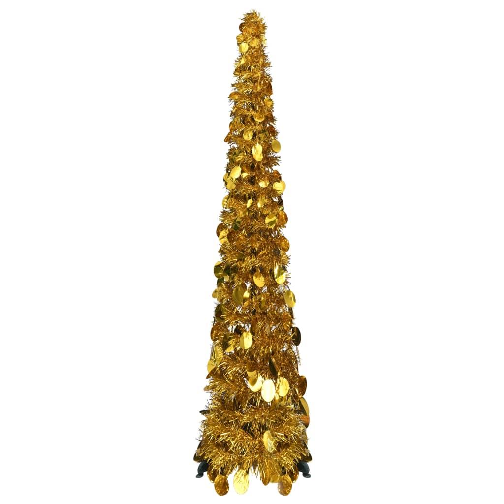 Rozkládací umělý vánoční stromek zlatý 120 cm PET