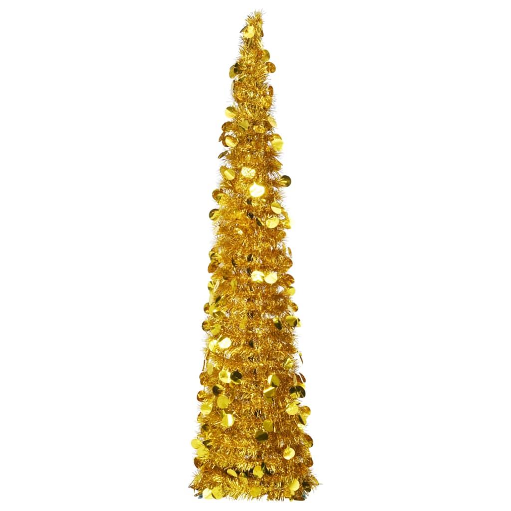 vidaXL Brad de Crăciun artificial tip pop-up, auriu, 150 cm, PET poza 2021 vidaXL