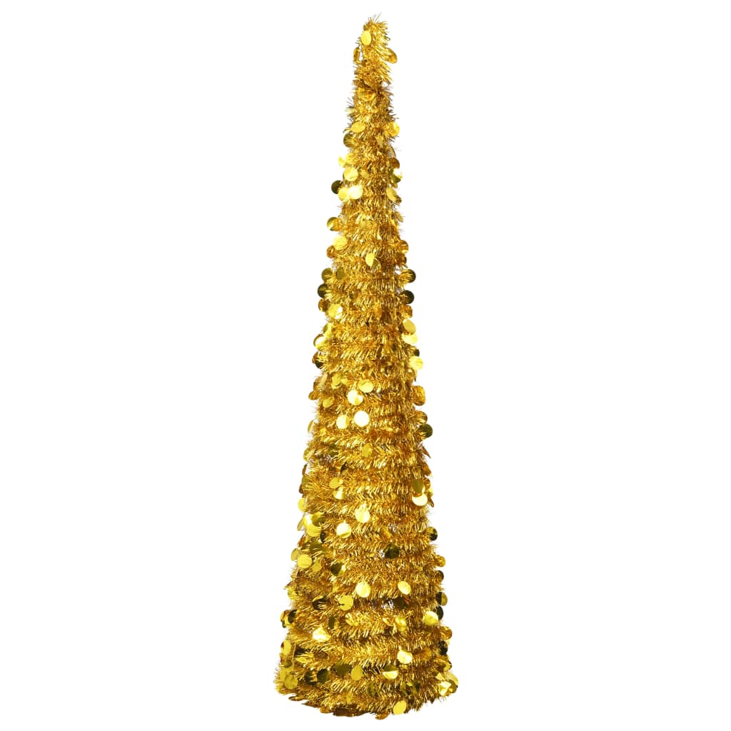 vidaXL Składana, sztuczna choinka, złota, 180 cm, PET