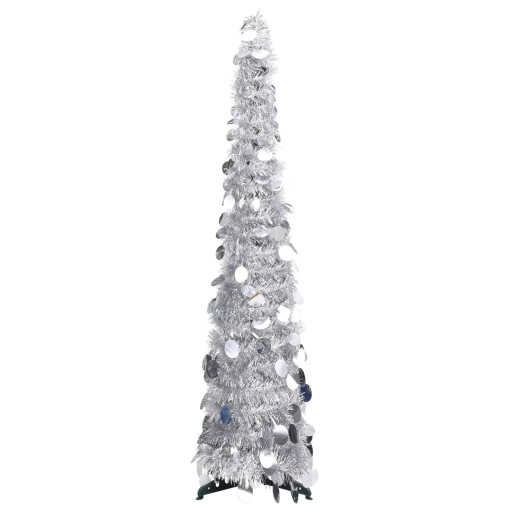 vidaXL Brad de Crăciun artificial tip pop-up, argintiu, 120 cm, PET vidaxl.ro