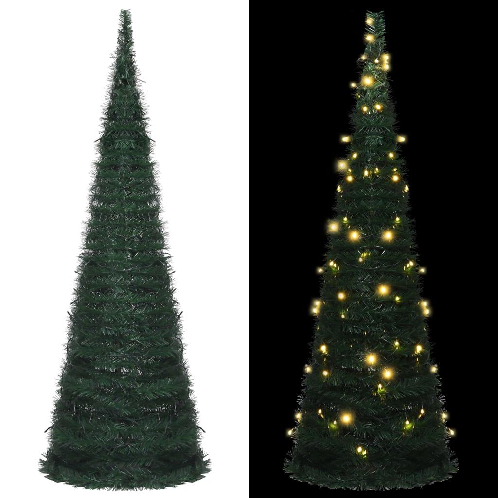 vidaXL Brad șnur de Crăciun artificial pop-up, LED, verde, 180 cm vidaxl.ro
