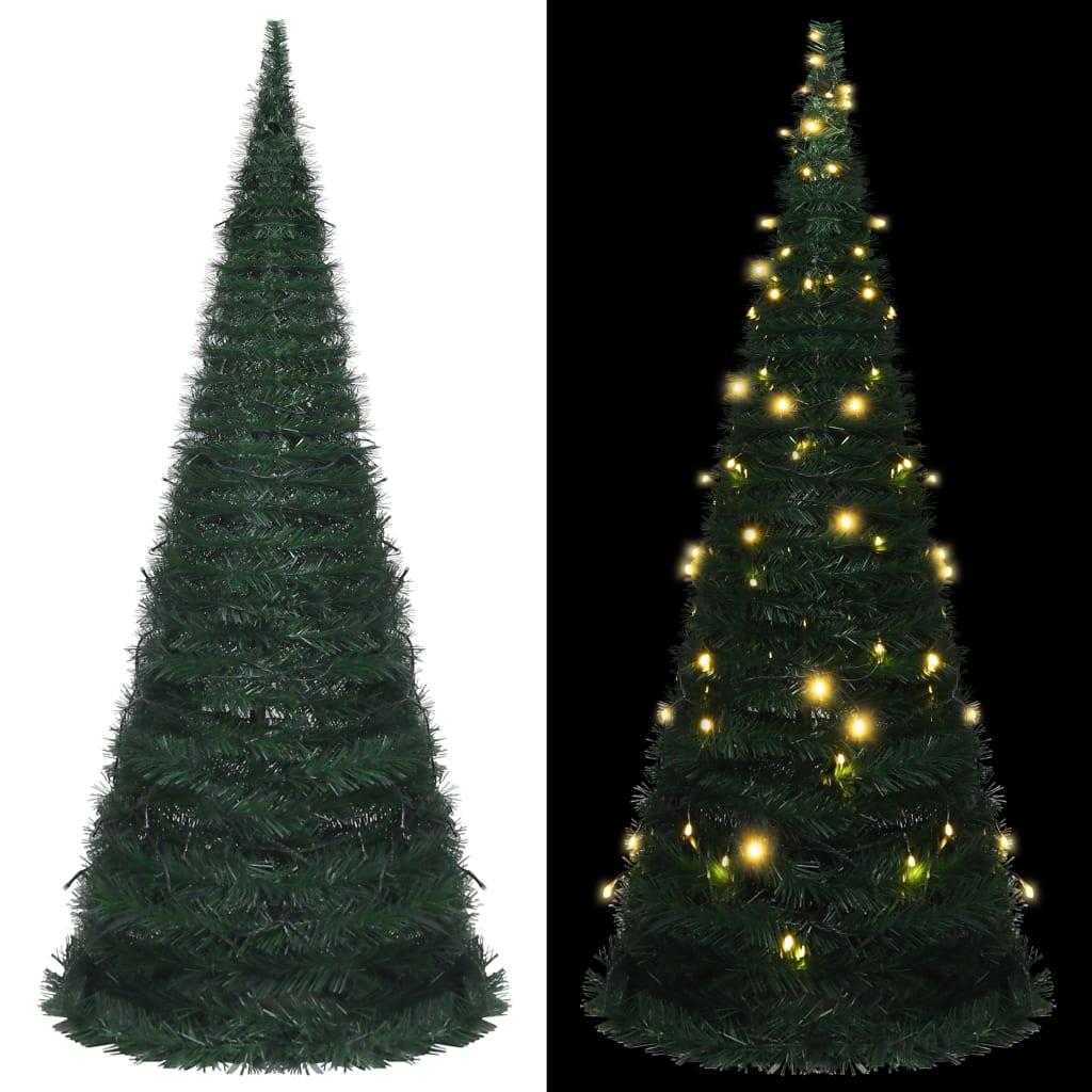 vidaXL Brad șnur de Crăciun artificial pop-up, LED, verde, 210 cm imagine vidaxl.ro