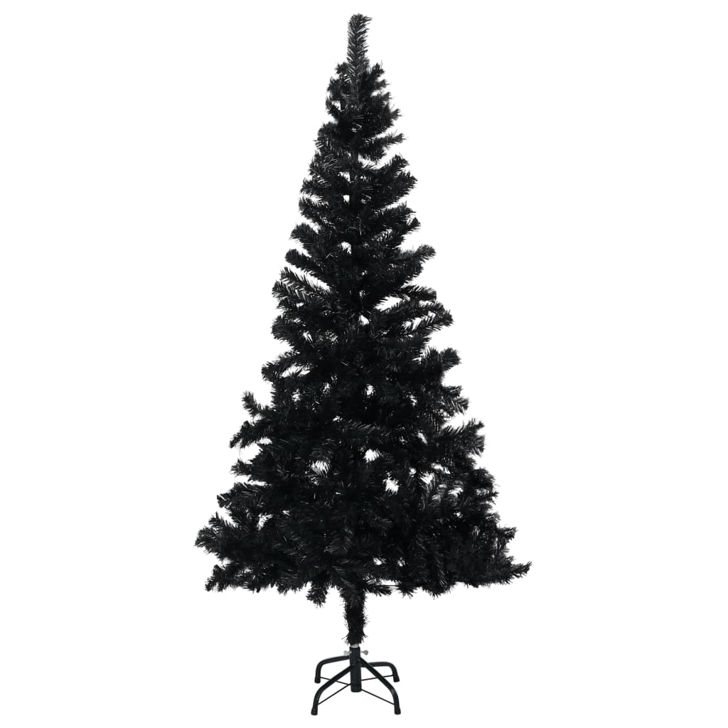 vidaXL Sztuczna choinka ze stojakiem, czarna, 150 cm, PVC