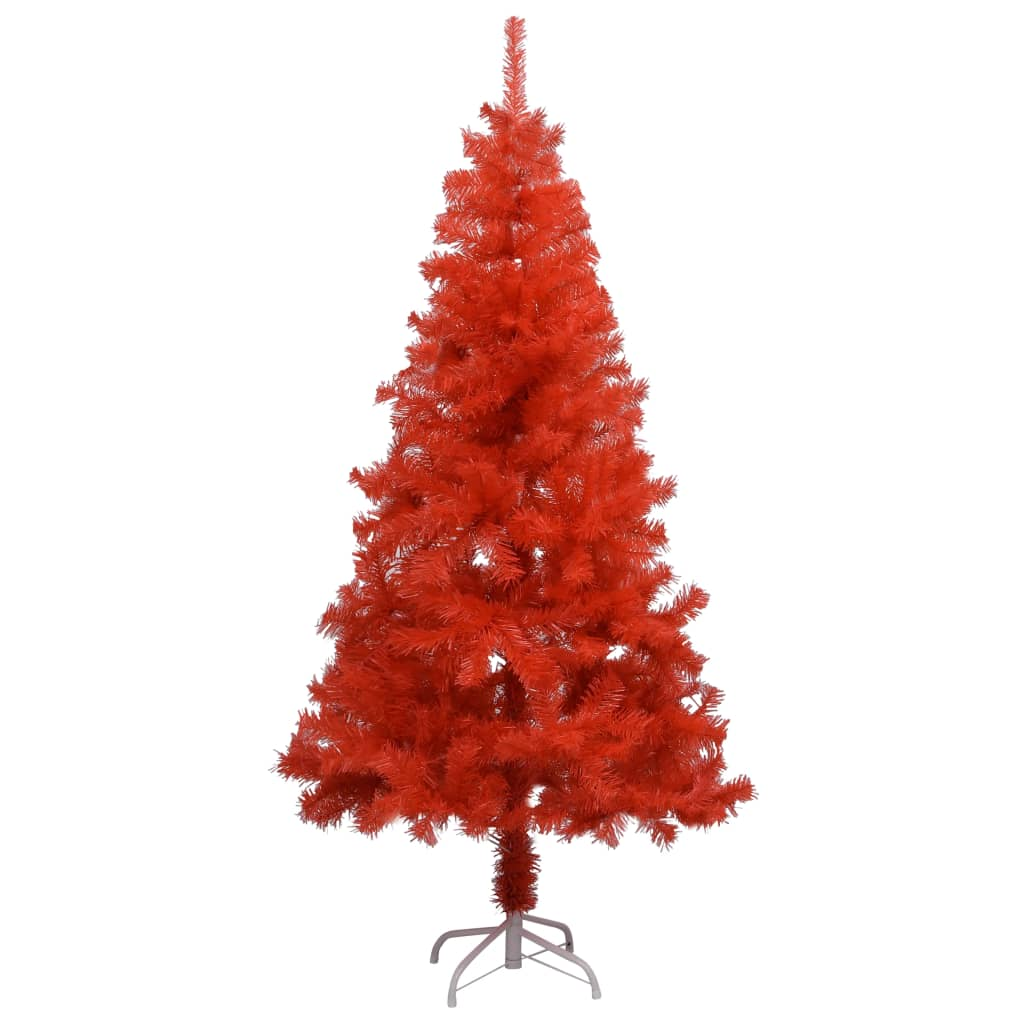 vidaXL Sztuczna choinka ze stojakiem, czerwona, 150 cm, PVC