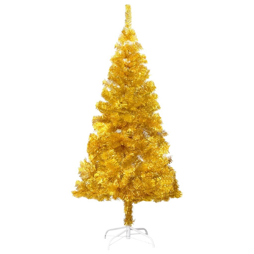 Umělý vánoční stromek se stojanem zlatý 210 cm PET