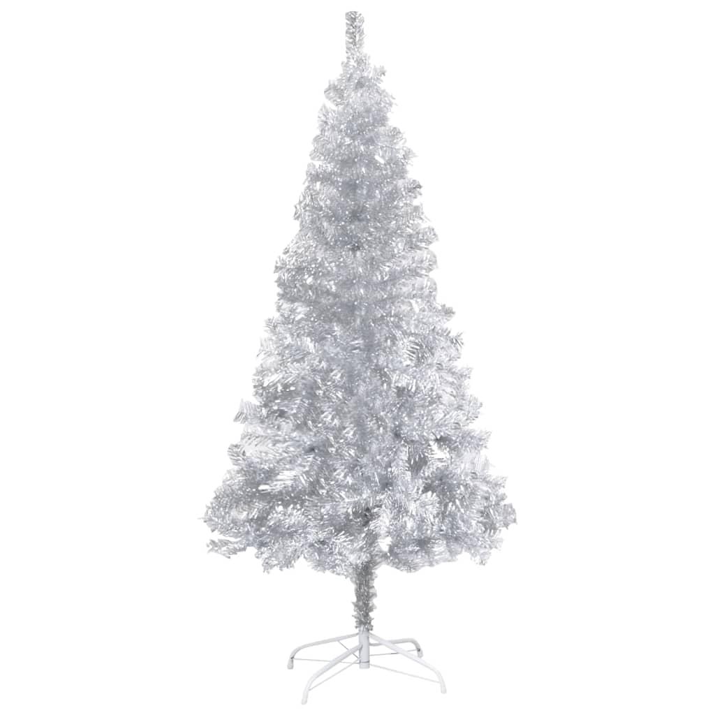 Umělý vánoční stromek se stojanem stříbrný 210 cm PET