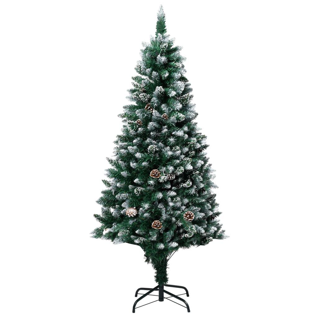 Umělý vánoční stromek se šiškami a bílým sněhem 150 cm