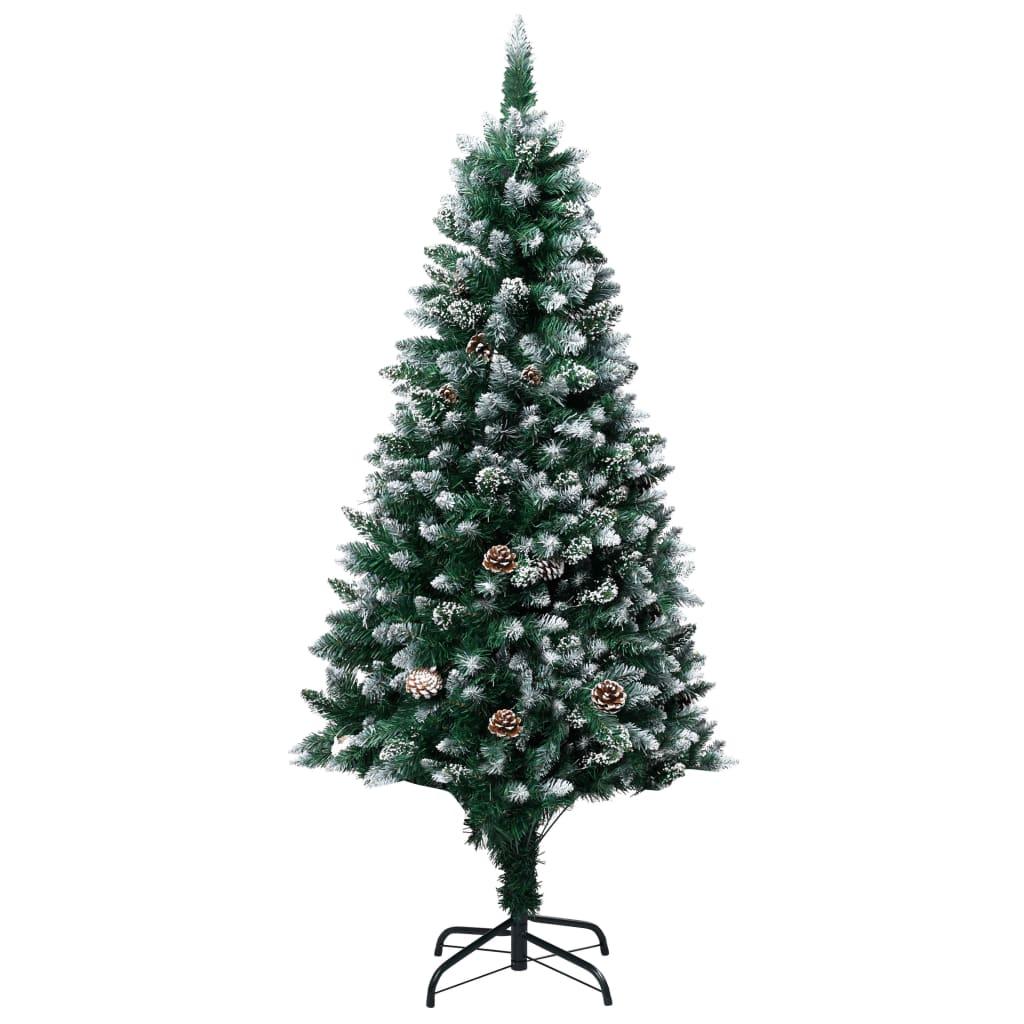 vidaXL Brad de Crăciun artificial cu conuri și zăpadă albă, 180 cm vidaxl.ro