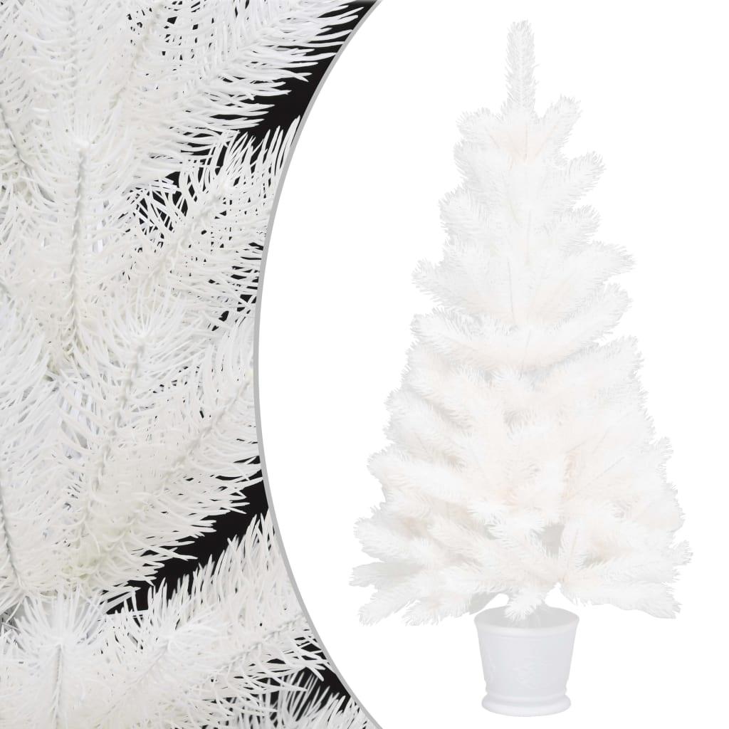 vidaXL Pom de Crăciun artificial, ace cu aspect natural, alb, 90 cm vidaxl.ro