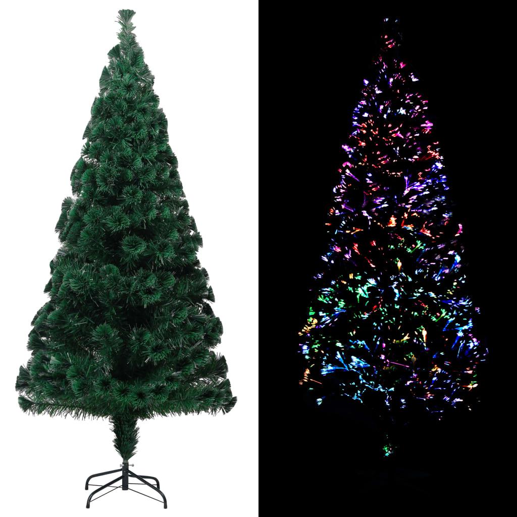 vidaXL Pom de Crăciun artificial cu suport, verde, 210cm, fibră optică imagine vidaxl.ro