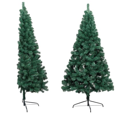vidaXL Artificial Half Christmas Tree with Stand Green 185 cm PVC-picture