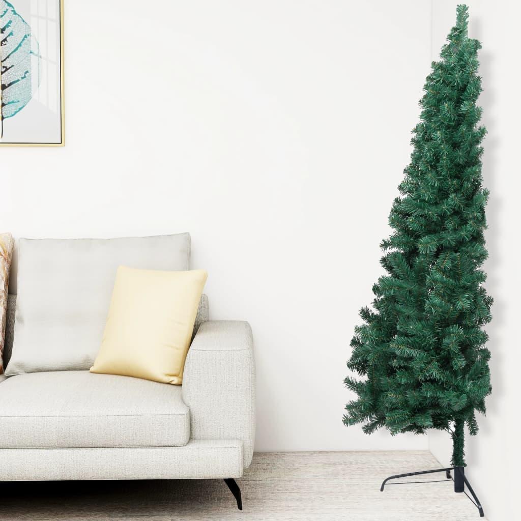 vidaXL Jumătate pom Crăciun artificial cu suport, verde, 180 cm, PVC vidaxl.ro