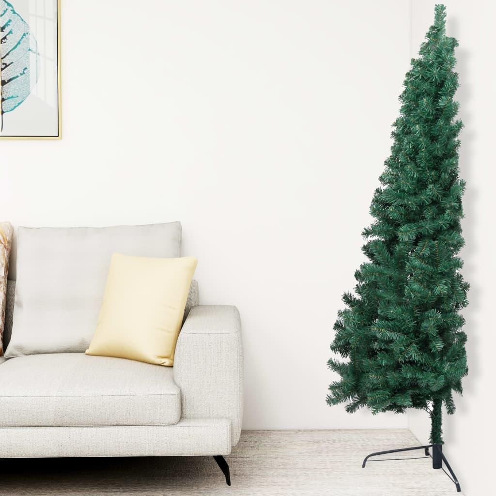 vidaXL Jumătate pom Crăciun artificial cu suport, verde, 210 cm, PVC imagine vidaxl.ro