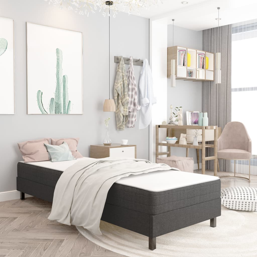 vidaXL seng med boxmadras 100x200 cm stof mørkegrå