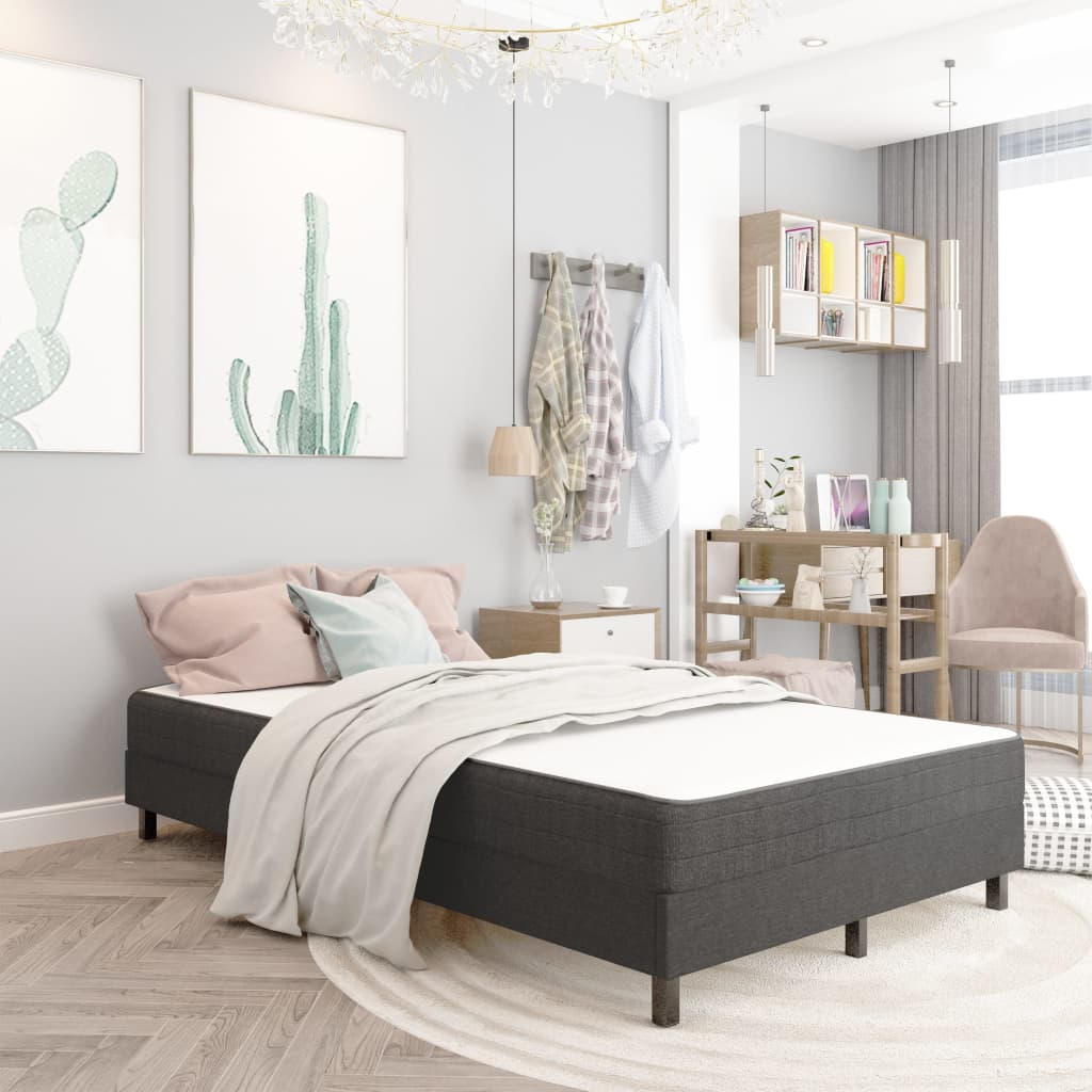 vidaXL seng med boxmadras 120x200 cm stof mørkegrå