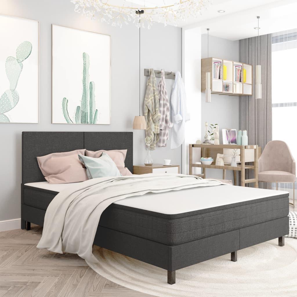 vidaXL seng med boxmadras 160x200 cm stof mørkegrå