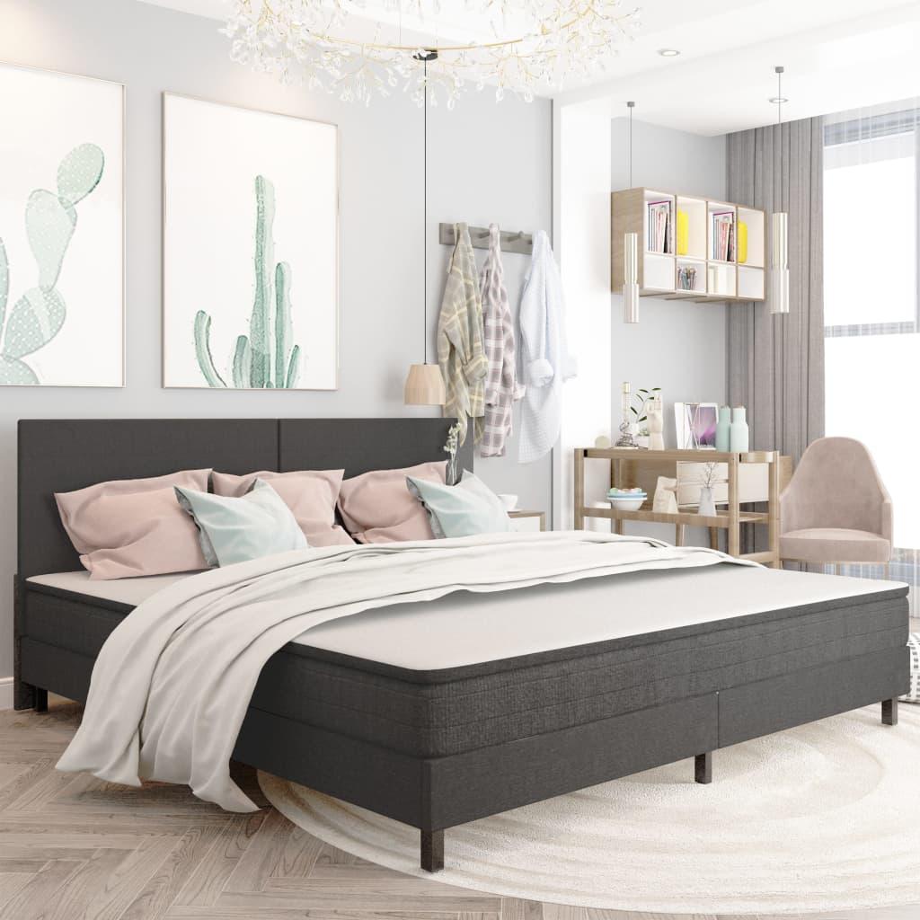 vidaXL seng til boxmadras 200x200 cm stof mørkegrå