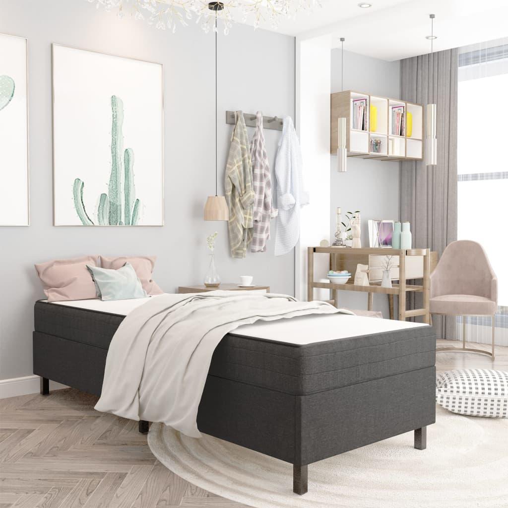 vidaXL seng med boxmadras 80x200 cm stof mørkegrå