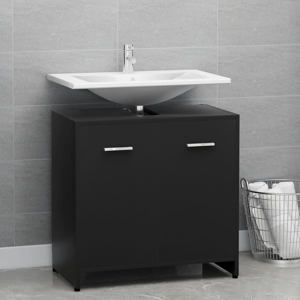 vidaXL Dulap de baie, negru, 60 x 33 x 58 cm, PAL poza vidaxl.ro