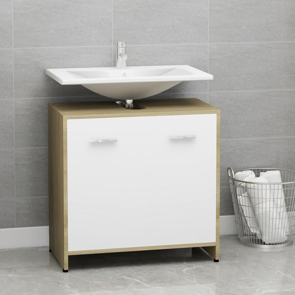 Koupelnová skříňka bílá dub sonoma 60 x 33 x 58 cm dřevotříska