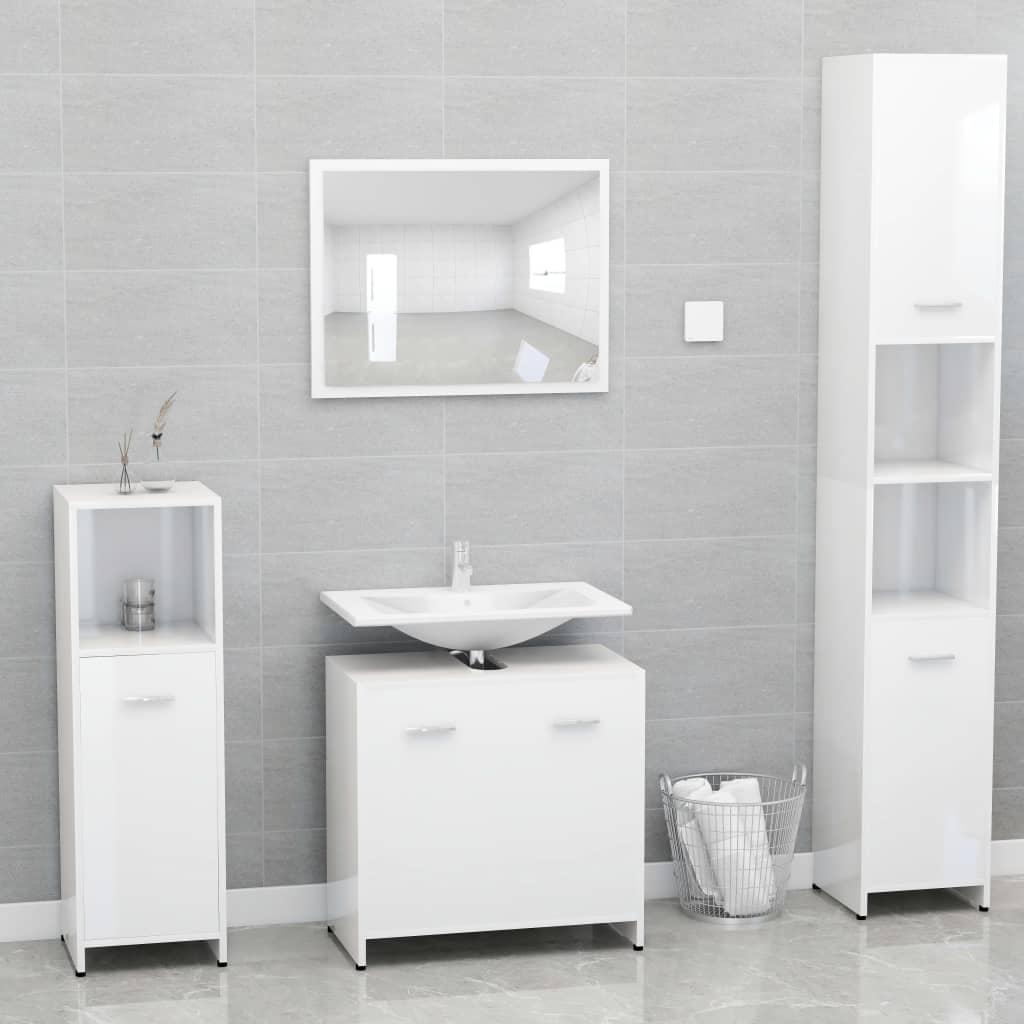 vidaXL Set mobilier de baie, alb extralucios, PAL imagine vidaxl.ro