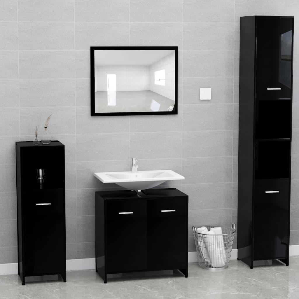 vidaXL Set mobilier de baie, negru extralucios, PAL poza 2021 vidaXL