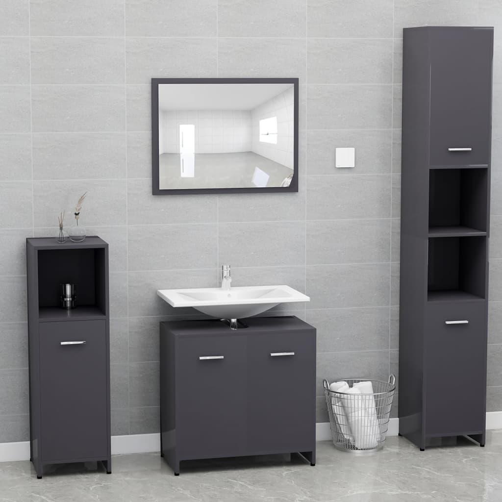 vidaXL Set mobilier de baie, gri extralucios, PAL imagine vidaxl.ro