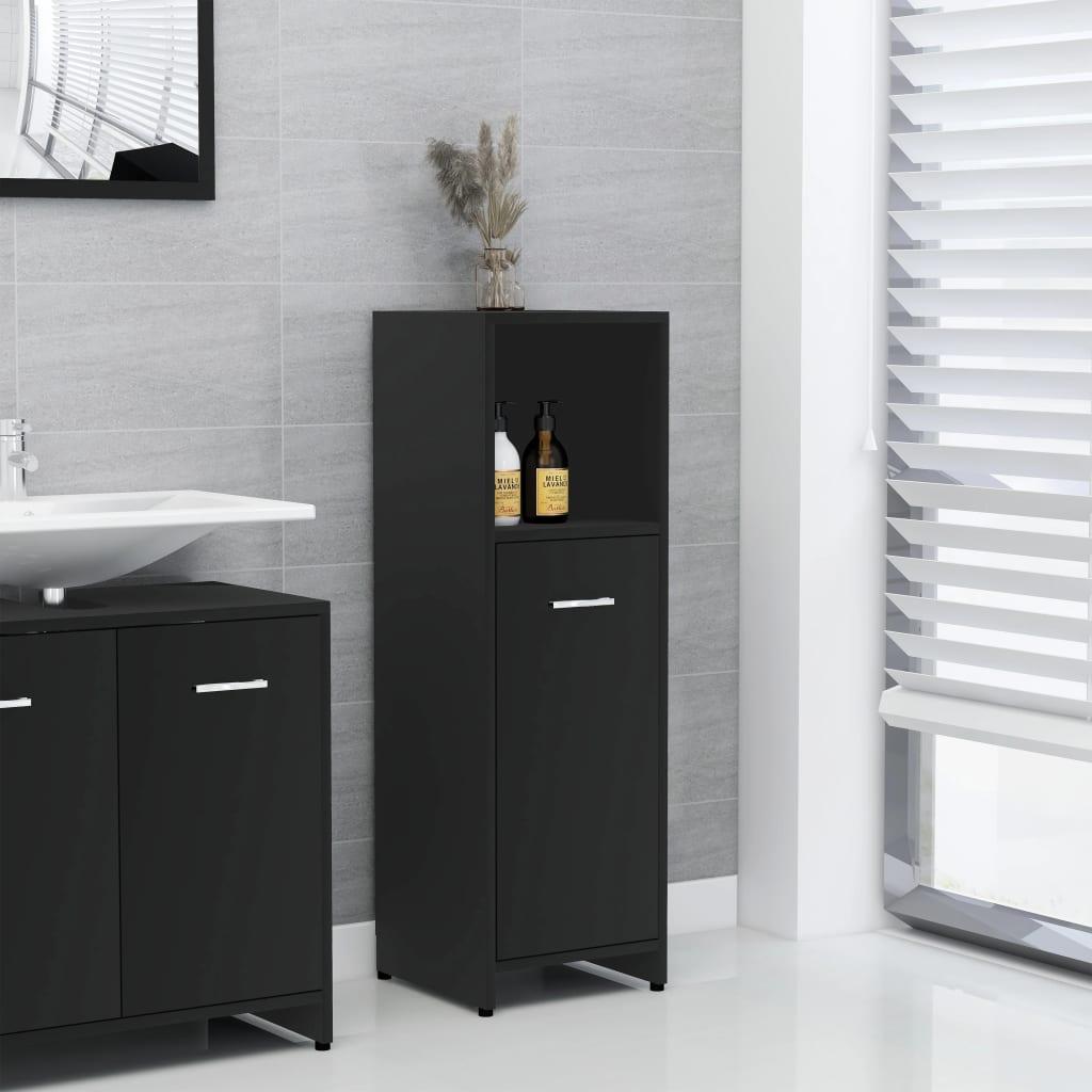 vidaXL Dulap de baie, negru, 30 x 30 x 95 cm, PAL poza 2021 vidaXL