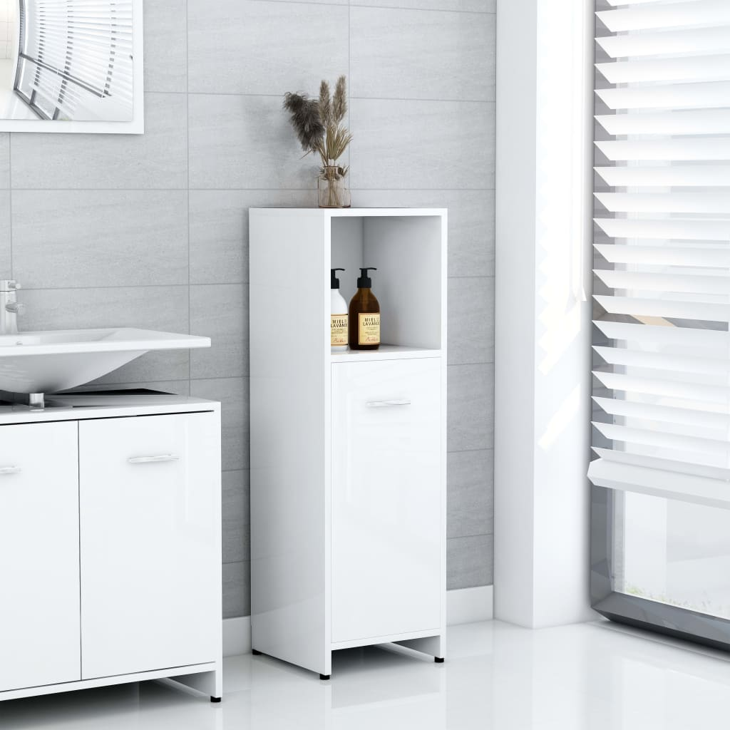 vidaXL Dulap de baie, alb extralucios, 30 x 30 x 95 cm, PAL imagine vidaxl.ro