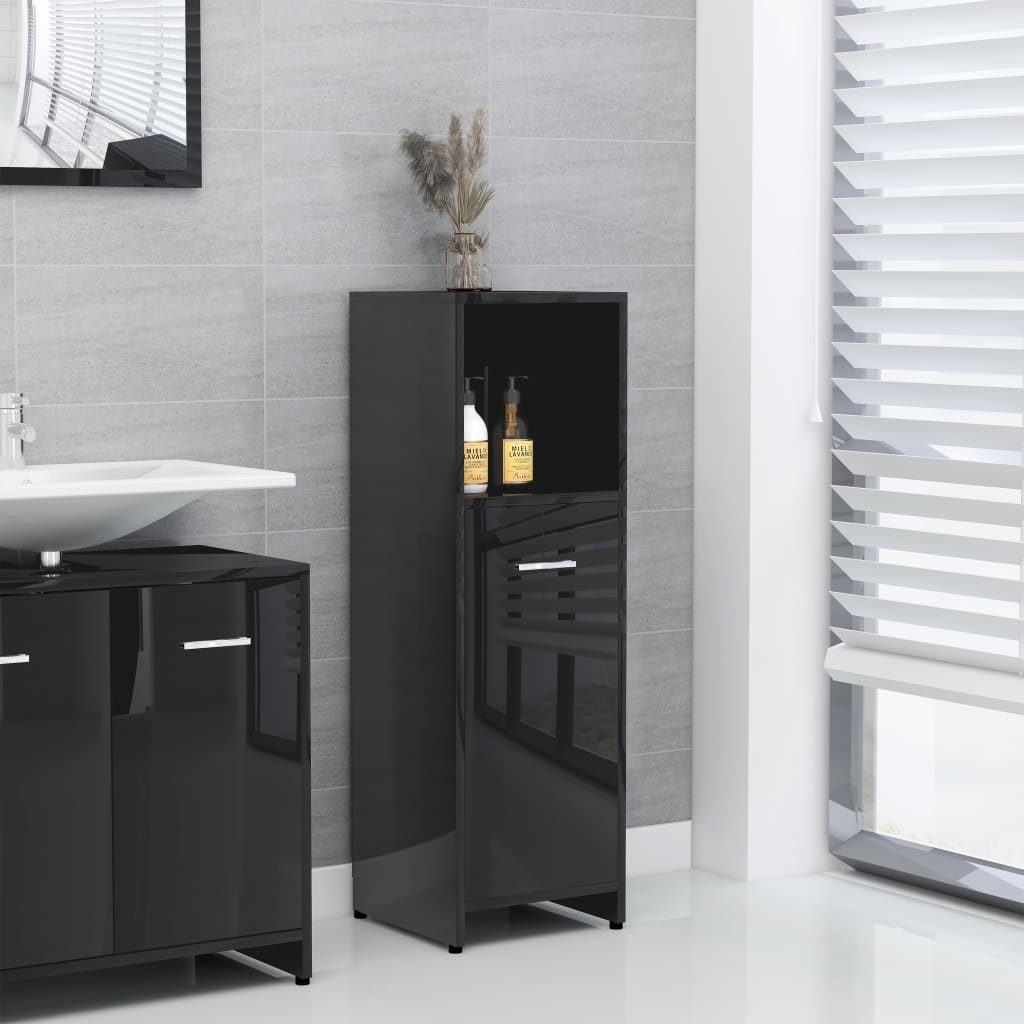 vidaXL Dulap de baie, negru extralucios, 30 x 30 x 95 cm, PAL imagine vidaxl.ro
