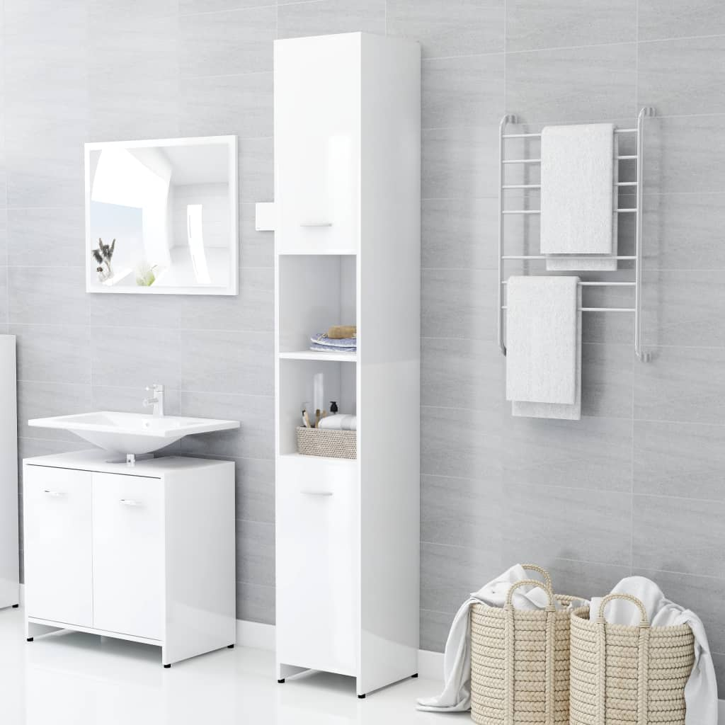 vidaXL Dulap de baie, alb extralucios, 30 x 30 x 183,5 cm, PAL poza 2021 vidaXL