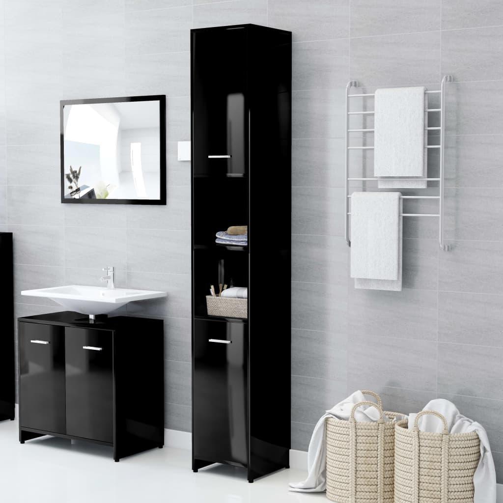 vidaXL Dulap de baie, negru extralucios, 30 x 30 x 183,5 cm, PAL poza 2021 vidaXL
