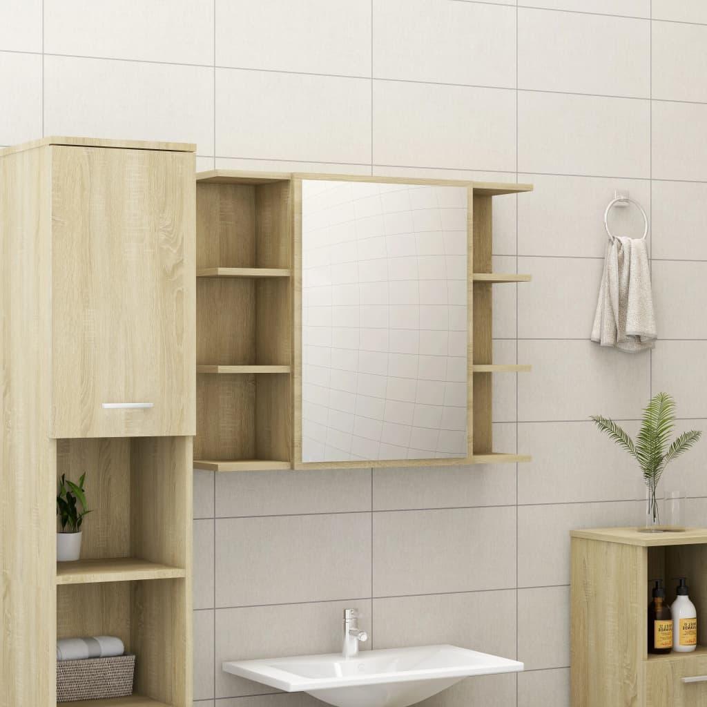 vidaXL Dulap de baie cu oglindă, stejar Sonoma, 80 x 20,5 x 64 cm, PAL vidaxl.ro