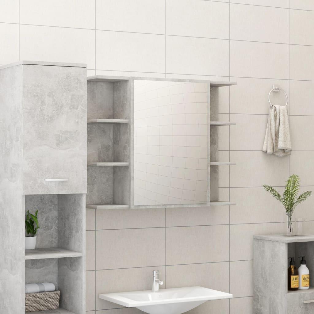 vidaXL Dulap de baie cu oglindă, gri beton, 80 x 20,5 x 64 cm, PAL vidaxl.ro