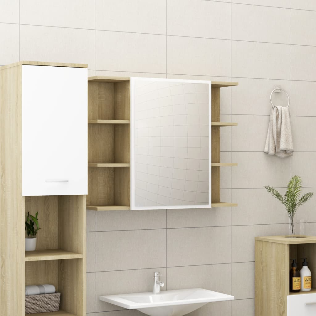 vidaXL Dulap baie cu oglindă, alb/stejar Sonoma, 80 x 20,5 x 64 cm PAL vidaxl.ro