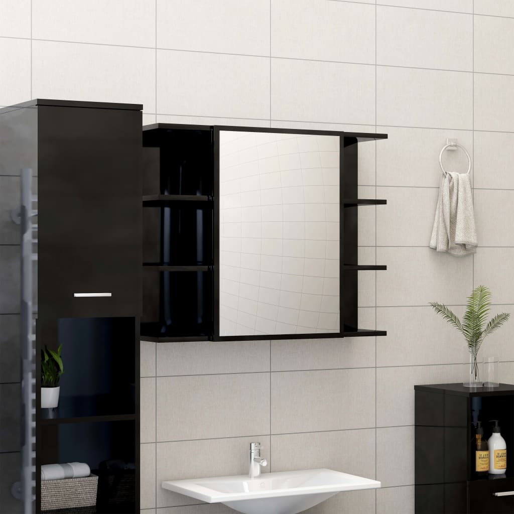 Peeglikapp kõrgläikega must 80 x 20,5 x 64 cm p..