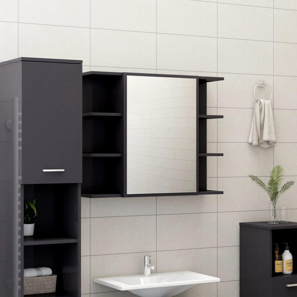 vidaXL Dulap de baie cu oglindă, gri extralucios, 80x20,5x64 cm, PAL vidaxl.ro
