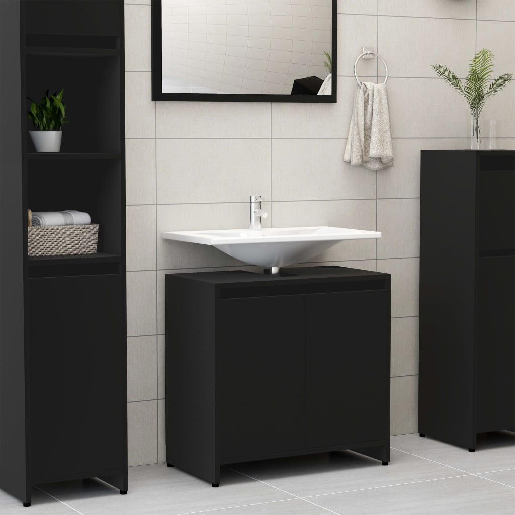 vidaXL Dulap de baie, negru, 60 x 33 x 58 cm, PAL imagine vidaxl.ro