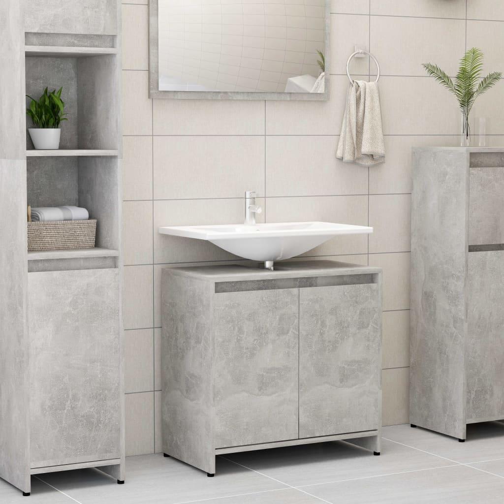 vidaXL Dulap de baie, gri beton, 60 x 33 x 58 cm, PAL vidaxl.ro