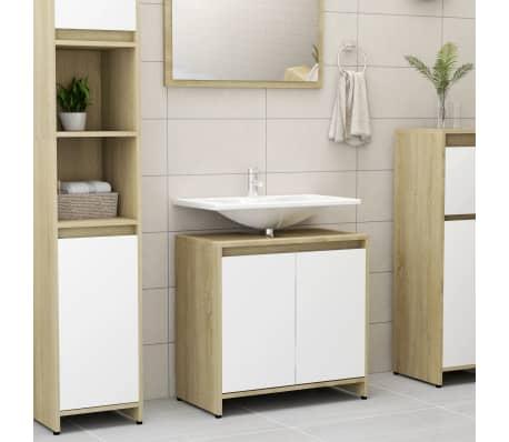 vidaXL Bathroom Cabinet White and Sonoma Oak 60x33x58 cm Chipboard