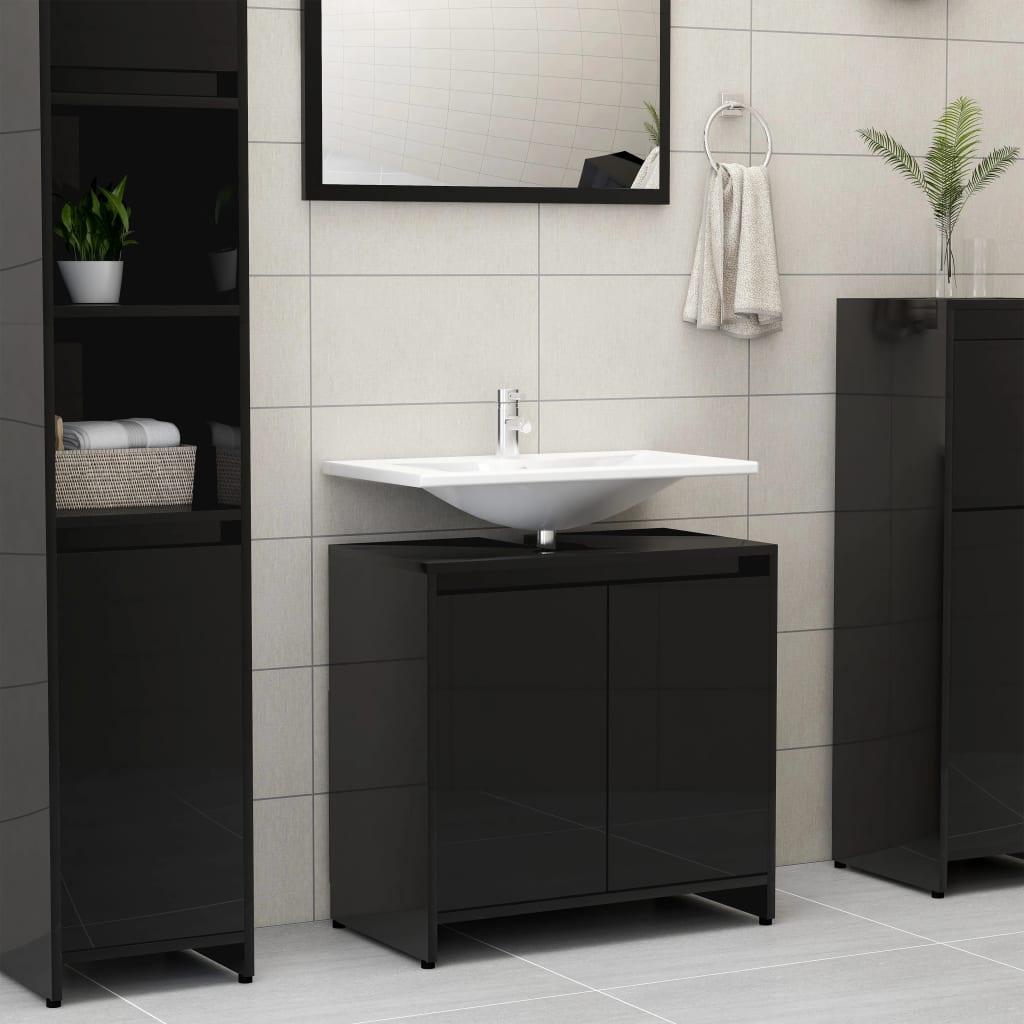 vidaXL Dulap de baie, negru extralucios, 60 x 33 x 58 cm, PAL poza vidaxl.ro