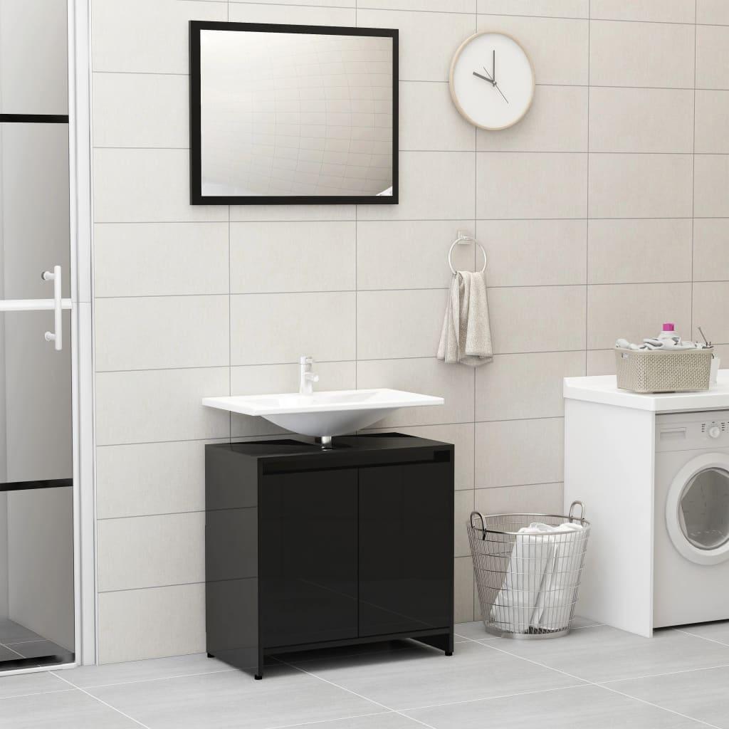 vidaXL Set mobilier de baie, negru extralucios, PAL imagine vidaxl.ro