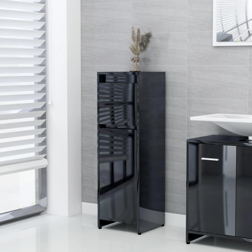 vidaXL Dulap de baie, negru extralucios, 30 x 30 x 95 cm, PAL poza vidaxl.ro