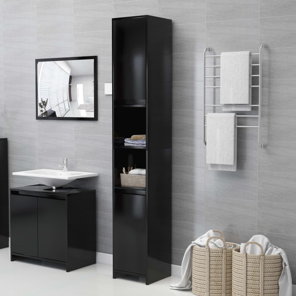 vidaXL Dulap de baie, negru, 30 x 30 x 183,5 cm, PAL vidaxl.ro