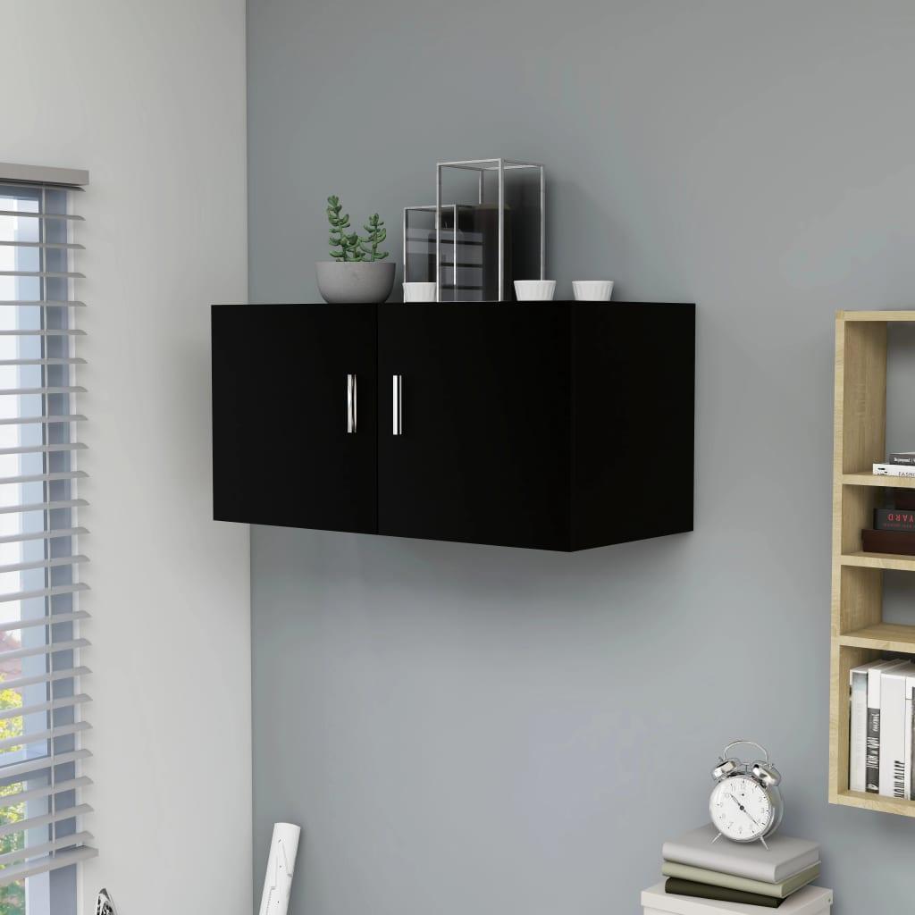 vidaXL Dulap montat pe perete, negru, 80x39x40 cm, PAL vidaxl.ro