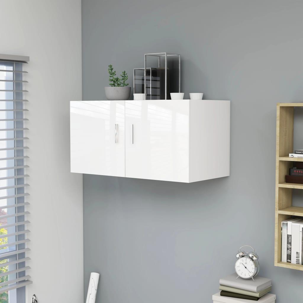 vidaXL Dulap montat pe perete, alb extralucios, 80x39x40 cm, PAL vidaxl.ro