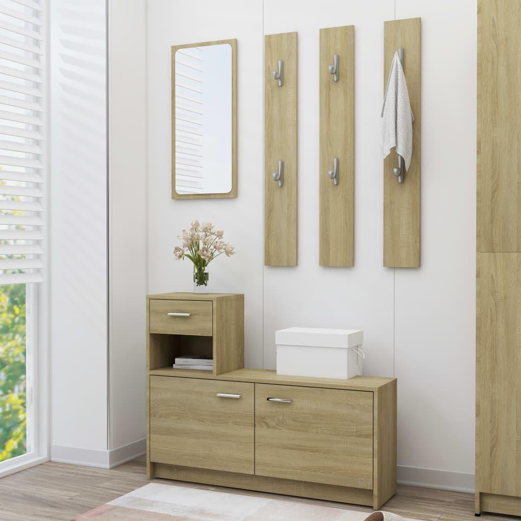 vidaXL Mobilă pentru hol, stejar Sonoma, 100 x 25 x 76,5 cm, PAL imagine vidaxl.ro