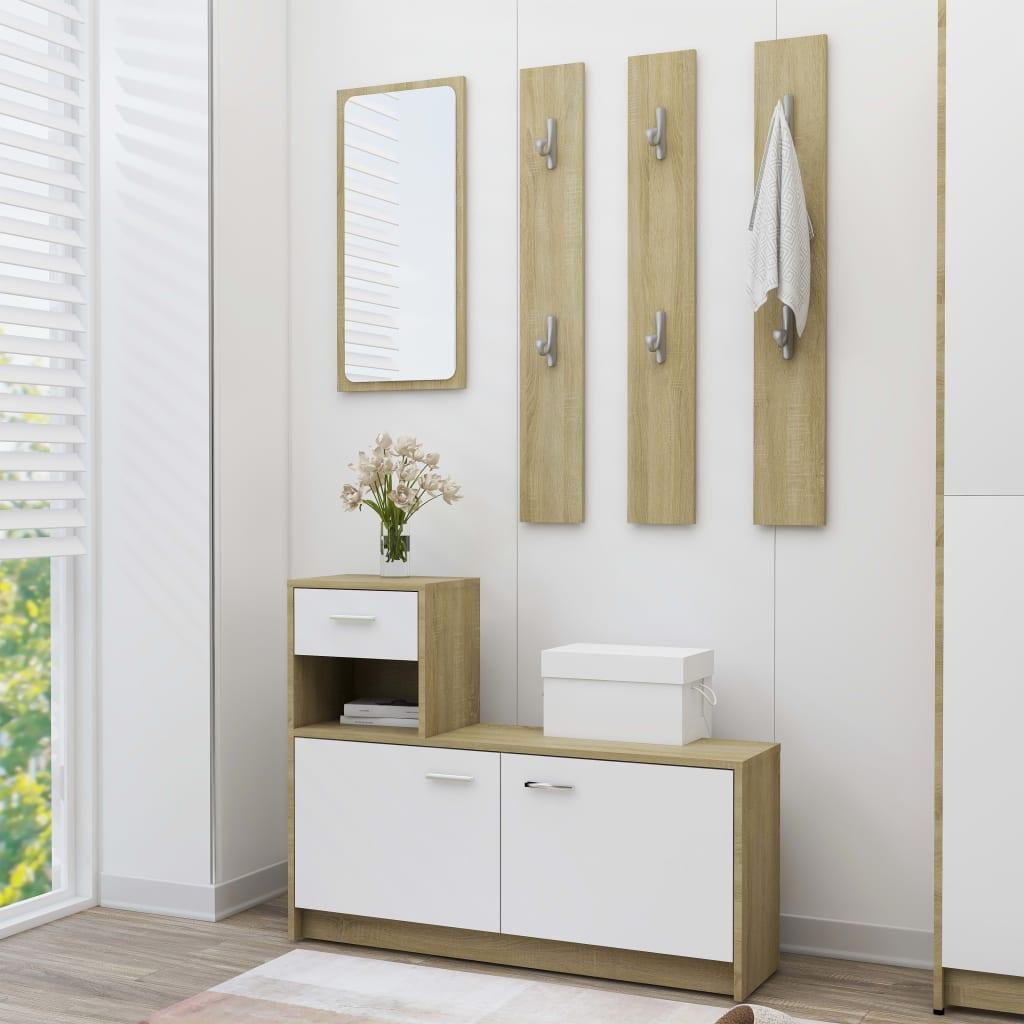 vidaXL Mobilier de hol, alb și stejar Sonoma, 100x25x76,5 cm, PAL vidaxl.ro