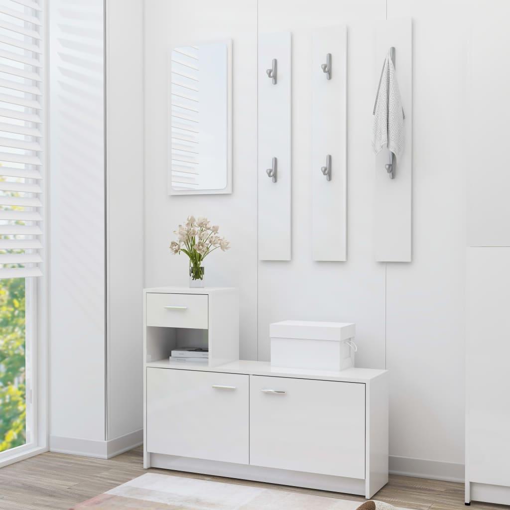 vidaXL Mobilă pentru hol, alb extralucios, 100 x 25 x 76,5 cm, PAL imagine vidaxl.ro