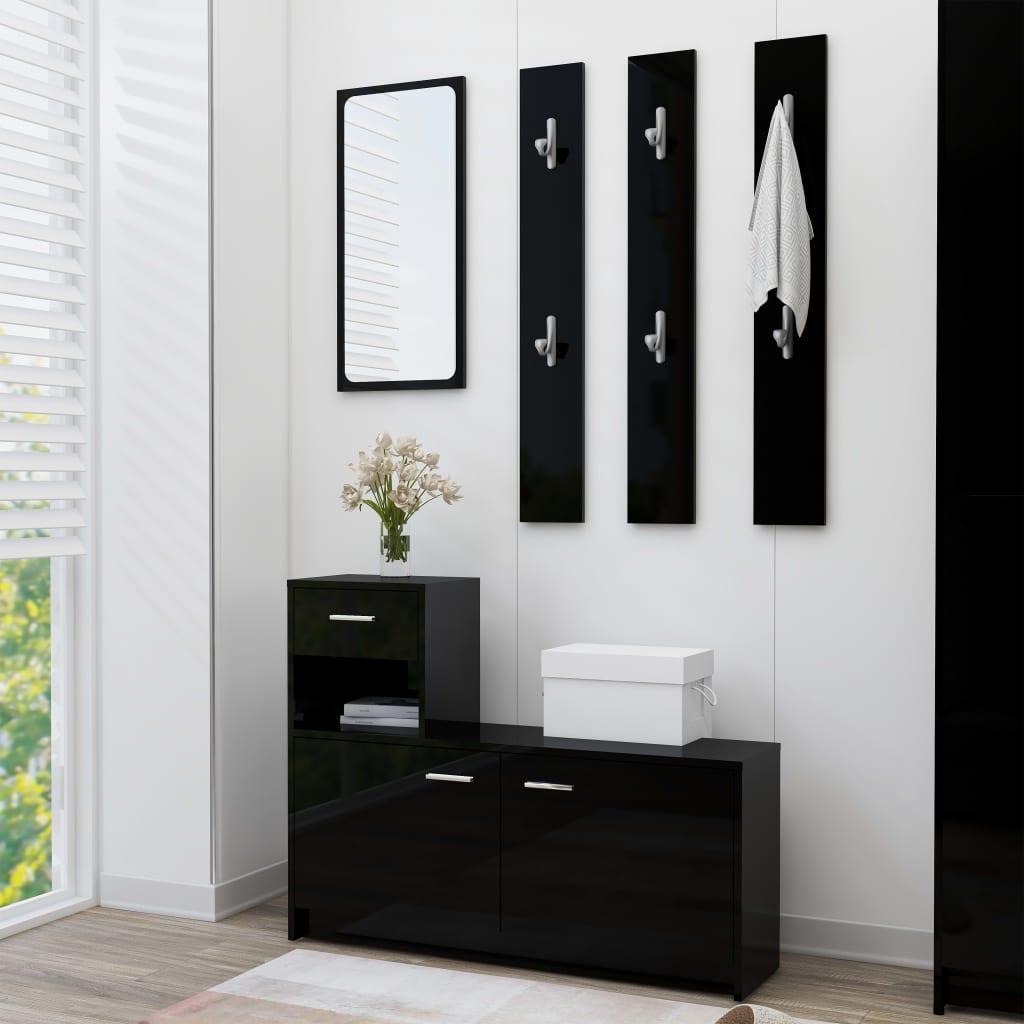 vidaXL Mobilă pentru hol, negru extralucios, 100 x 25 x 76,5 cm, PAL vidaxl.ro